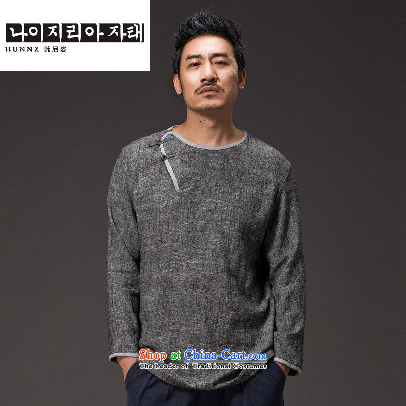 Hannizi China wind cotton linen tea service Tang dynasty long-sleeved improved Han-spiritual services need to come to grips loose ball-T-shirt and gray聽XXXXL