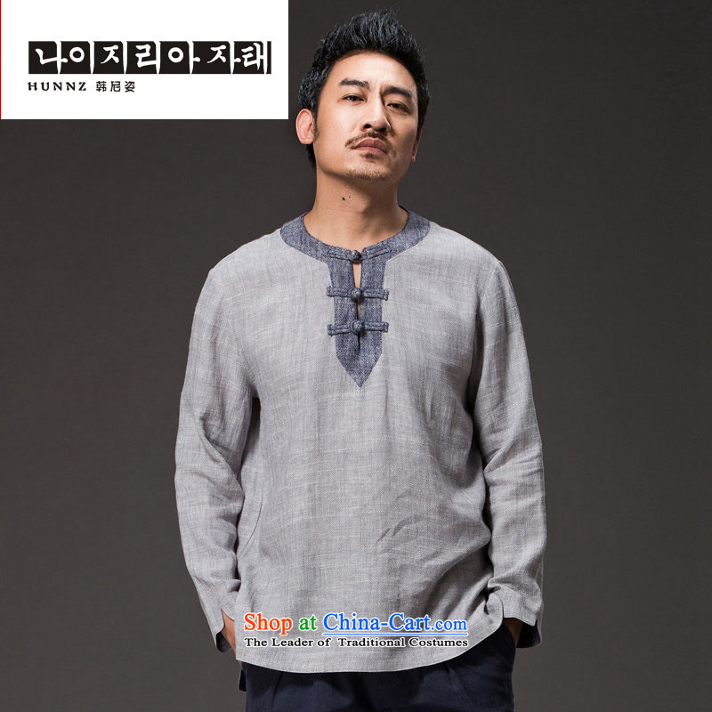 New retro HANNIZI China wind men Tang dynasty loose cotton linen hermit ball Services snap-leisure men?XXXXL Light Gray