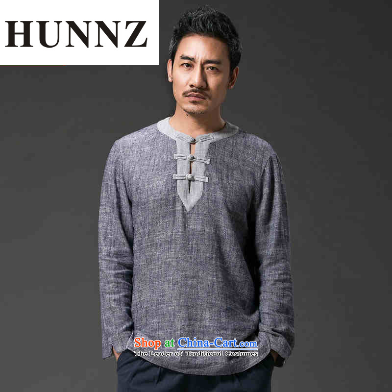 New retro HUNNZ China wind men Tang dynasty loose cotton linen hermit ball Services snap-in male gray�XXXL Leisure