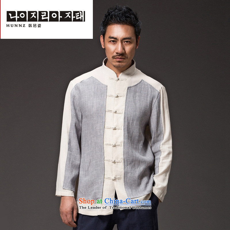 Chinese Natural Linen HUNNZ men Han-loose stylish spell color minimalist Tang tray detained men CHEONGSAMS聽XXXXL Light Gray