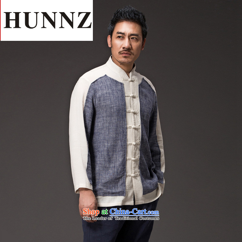 Chinese Natural Linen HUNNZ men Han-loose stylish spell color minimalist Tang tray detained men CHEONGSAMS XXXL Gray
