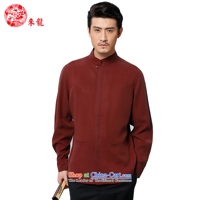 To replace 2015 Autumn Tang Lung New China wind men tencel long-sleeved shirt�585燿ark red dark red�