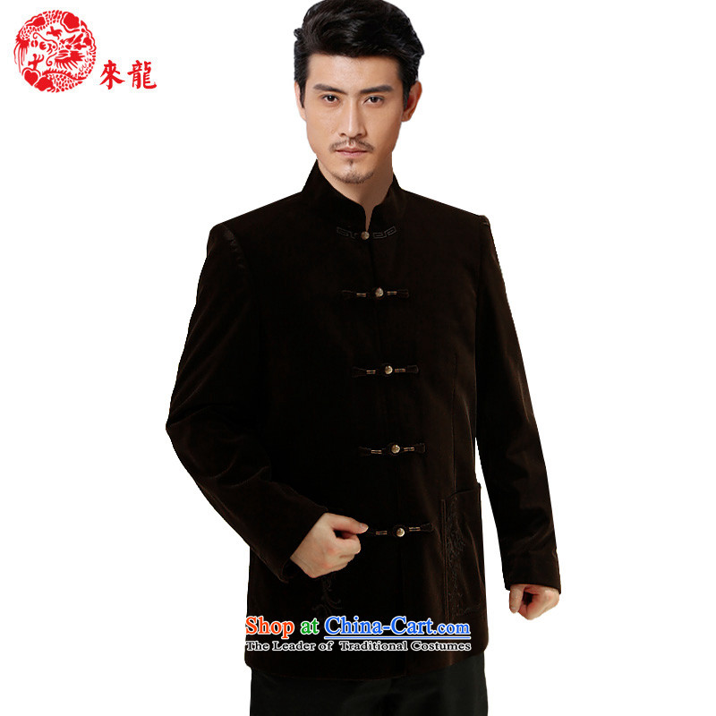 To Tang dynasty dragon autumn and winter, China wind jacket men 14,556 Black 44