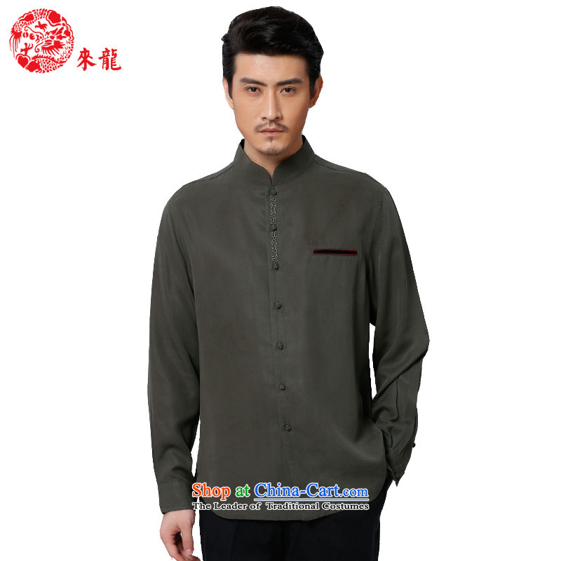 To replace 2015 Autumn Tang Lung New China wind men tencel long-sleeved shirt?15588?carbon carbon?46