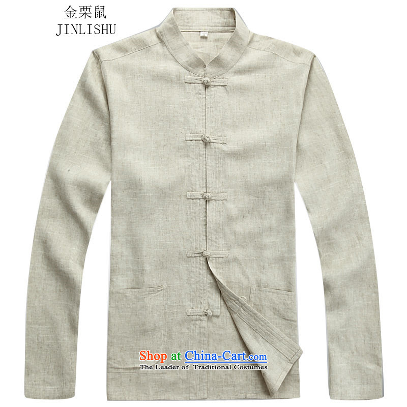 Kanaguri mouse autumn new linen long-sleeved Tang dynasty in long-sleeved older men Tang Dynasty Package beige jacket?L