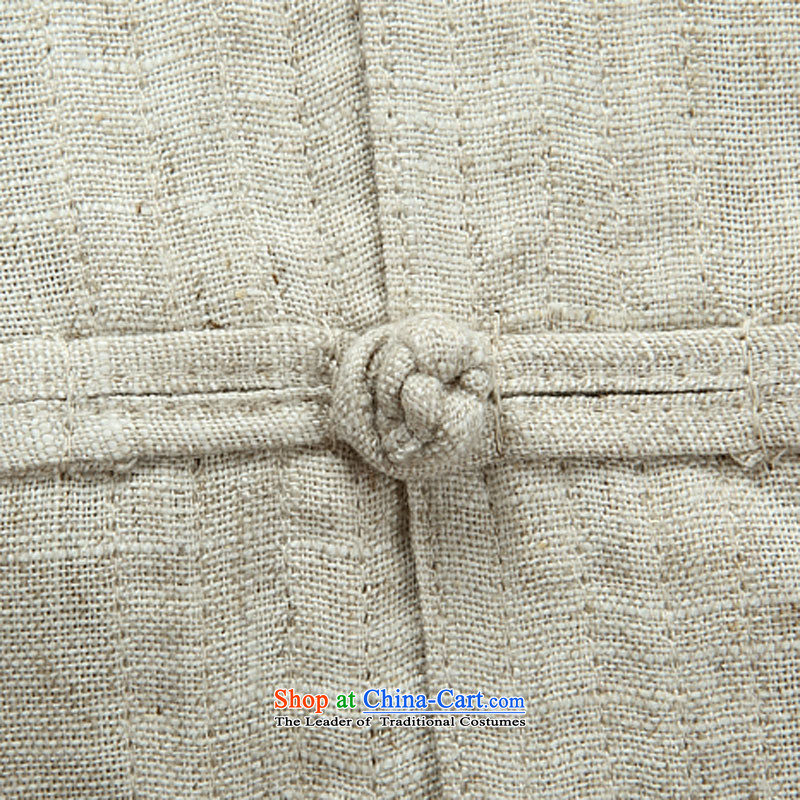 Kanaguri mouse autumn new linen long-sleeved Tang dynasty in long-sleeved older men Tang Dynasty Package beige jacket聽, L kanaguri mouse (JINLISHU) , , , shopping on the Internet