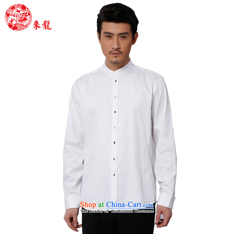 To replace 2015 Autumn Tang Lung New China wind men pure cotton leisure long-sleeved shirt 15176 white 44