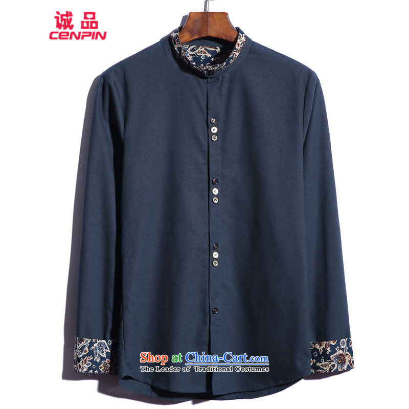 Eslite men China wind new l increase cotton linen shirt CX35 navy?M
