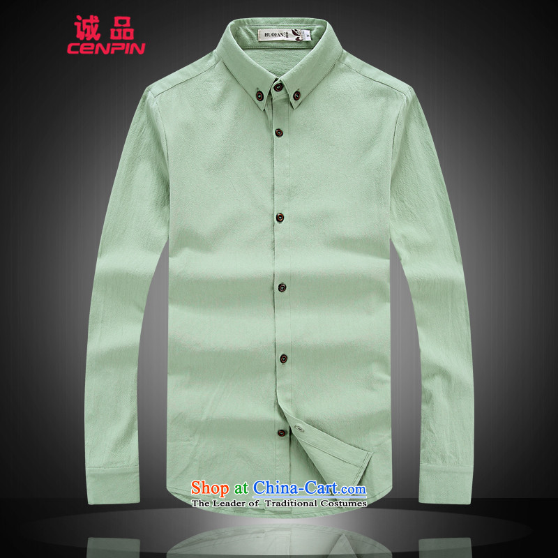 Eslite New China wind solid color cotton linen flax larger shirts shirt CX9801?XXXL green fruit