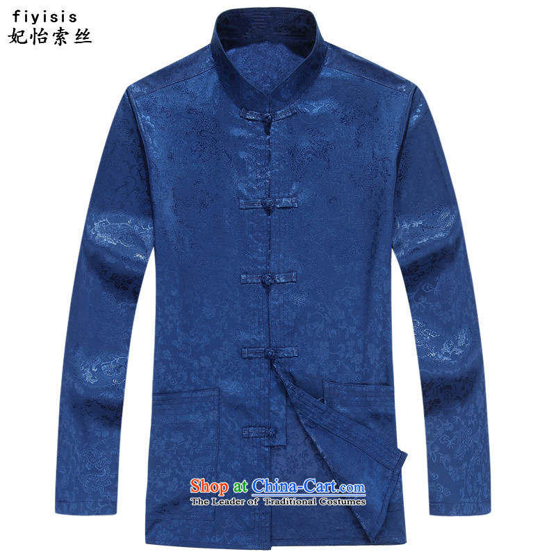 Princess Selina Chow _fiyisis_ Tang dynasty older men and large ethnic Han-packaged men long-sleeved Tang Dynasty Package long-sleeved father Han-loaded blue shirt聽185