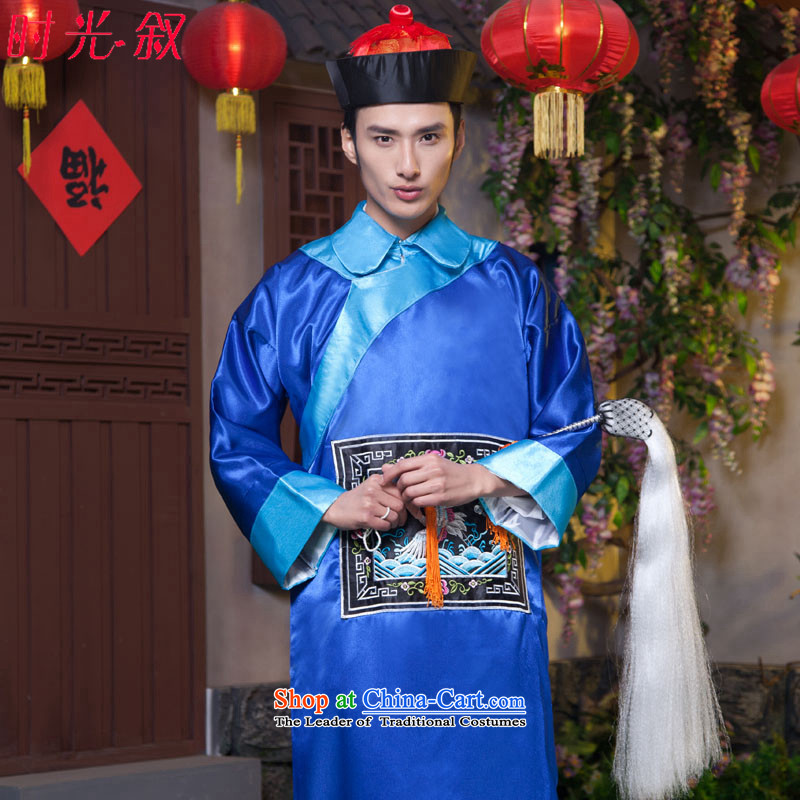 Time of the Qing dynasty and the Syrian ancient clothing fashions. Eunuchs Zombie Halloween costume clothing will serve for the bodyguards of the Qing Dynasty, blue adult 160-175CM Clothing