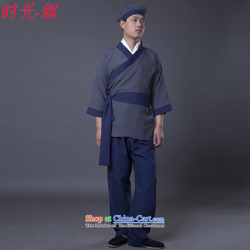 Time Syrian men's Second Stage Costume small miscellaneous bondage servant tea house marries the Han Dynasty Hotel OLD home, apparel civilians civilian clothes men and women work performances blue adult 160-175CM)