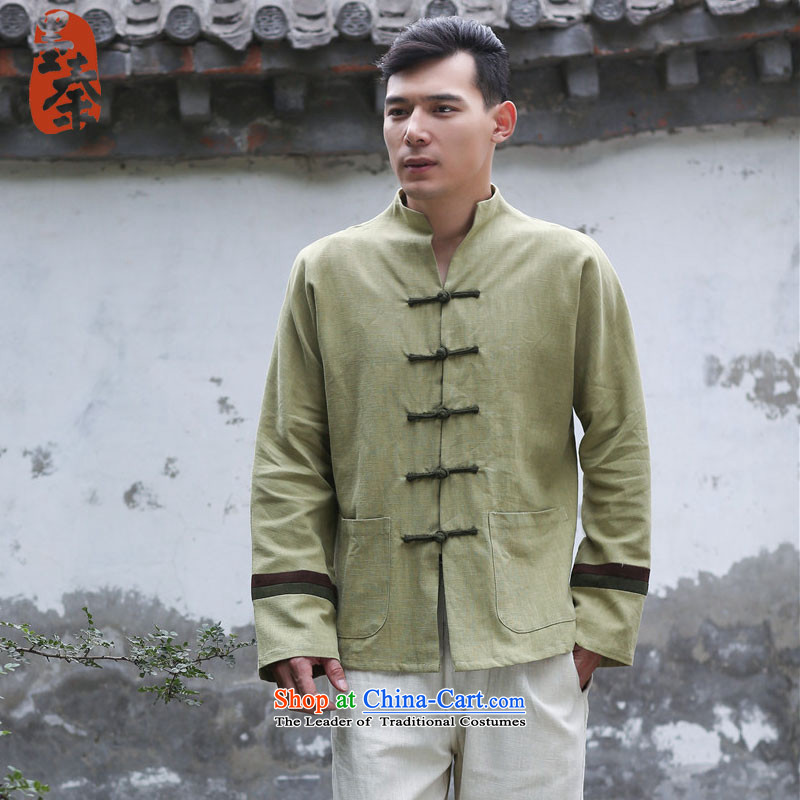 The qin designer original 2015 Fall/Winter Collections New Pure male blouses ethnic classical disc detained spell color jacket mfby081306 thick green are code