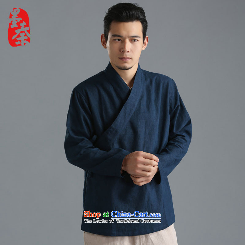 The qin designer original autumn 2015 new stylish pure male blouses solid color long-sleeved T-shirt ethnic Han-mfby081304 Dark Blue?M_small