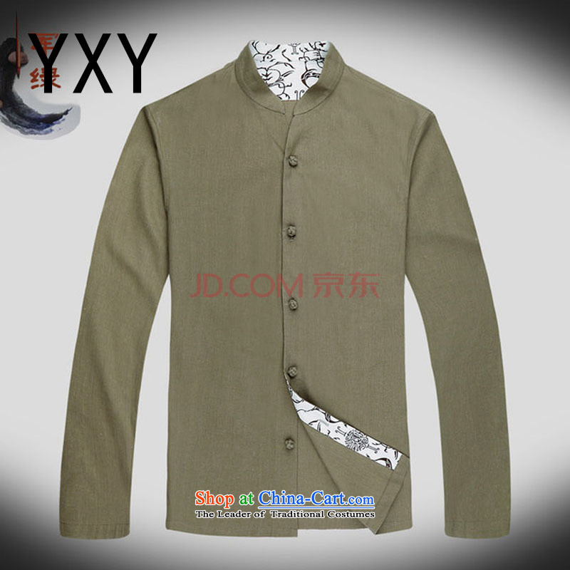 At the end of long-sleeved light China wind collar Chinese improved leisure Tang Dynasty Large male national costumes autumn, pale yellow DY053 M