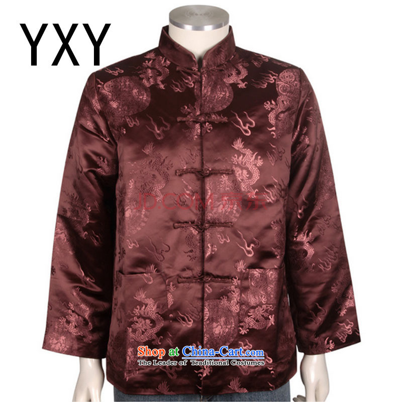 At the end of the elderly in the stylish light clothes men's winter coats cotton Tang dynasty China?DY0708 services?brown?XXL
