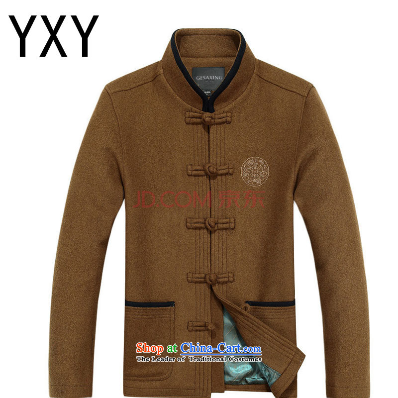 At the end of light in the number of older men's woolen? Tang Dynasty Chinese leisure thick long-sleeved round lung national wind jacket DY88020 Tang Brown L