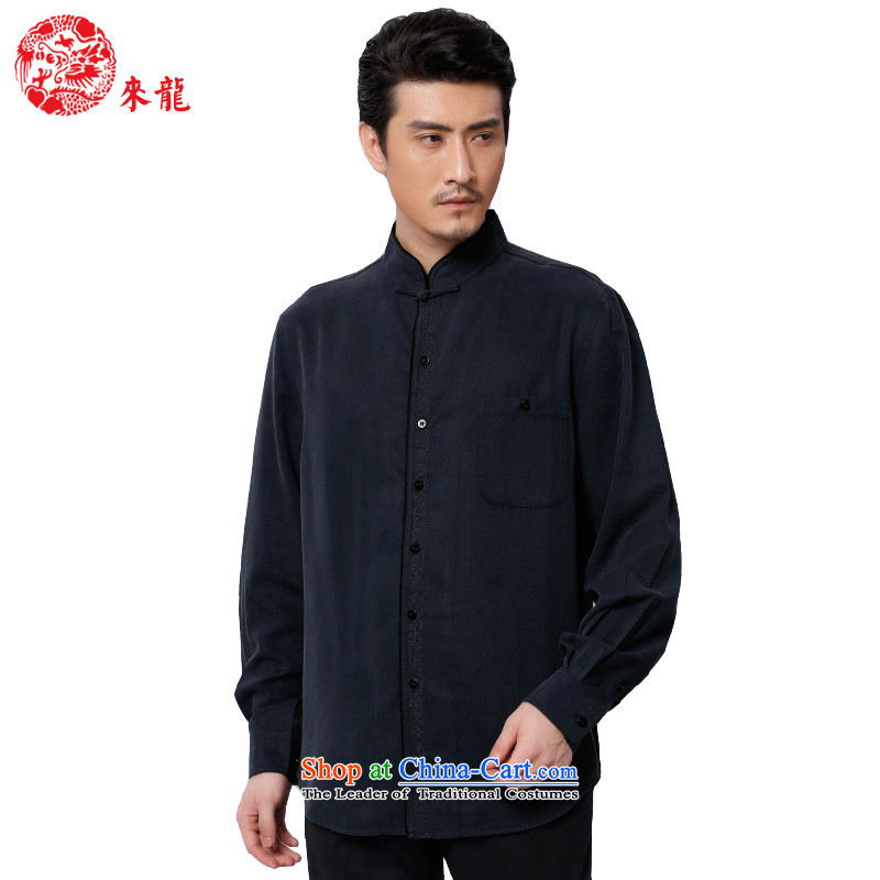 To replace 2015 Autumn Tang Lung New China wind men tencel leisure long-sleeved shirt?15591?Deep Blue Dark Blue?52