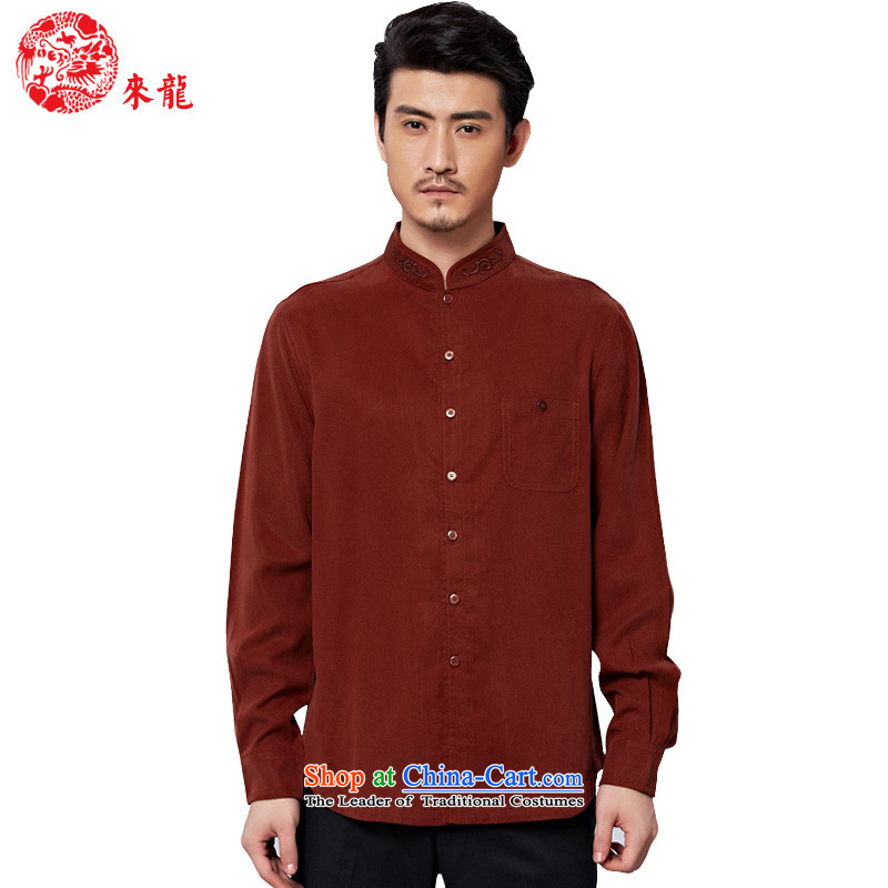 To replace 2015 Autumn Tang Lung New China wind men casual shirt, long-sleeved tencel�was 15,592�dark red dark red�52