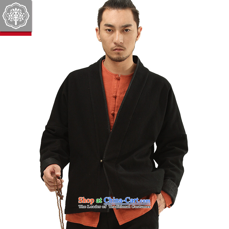 To Tree China wind autumn and winter new Tang dynasty men's Han-improved long-sleeved blouses and cotton linen color聽185_XXL Hyun