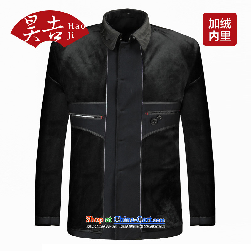 In spring and autumn, ho older men Chinese tunic suit for both business and leisure services to serve Zhongshan older persons Tang Kit _pack of black velvet_ 70_165_