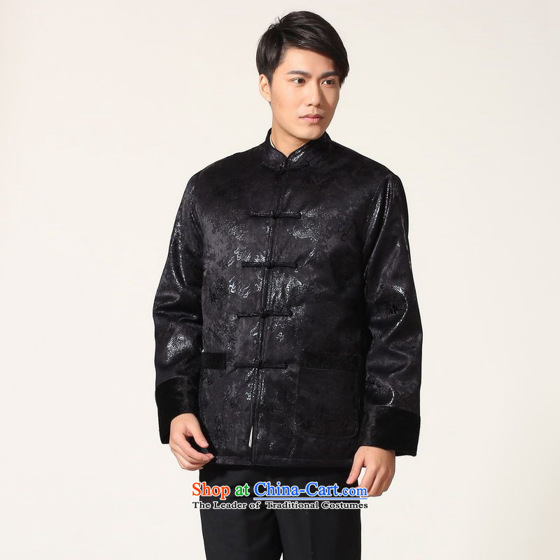 158 Jing men's jacket water Sable Hair Tang Add Tang dynasty lint-free men long-sleeved sweater Chinese Dragon Tang blouses聽-B Deep Blue聽M