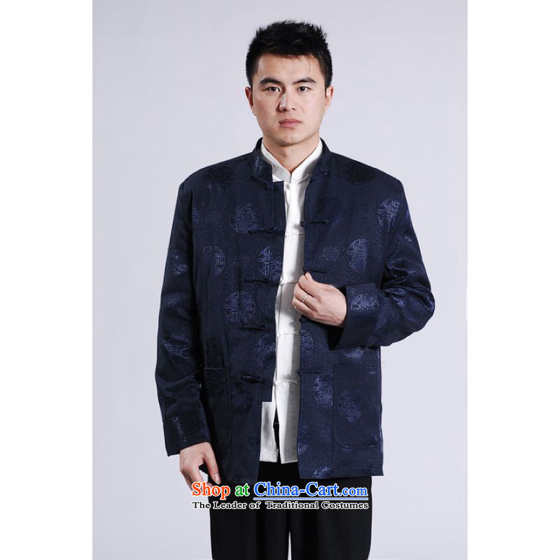 158 Jing Men's Jackets thick cotton plus add-Tang Tang replacing men long-sleeved sweater Chinese Dragon Tang blouses dark blue聽XXL