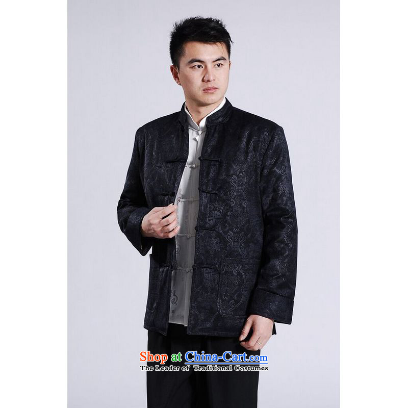 158 Jing Men's Jackets thick cotton plus add-Tang Tang replacing men long-sleeved sweater Chinese Dragon Tang blouses聽XXXL Dark Blue
