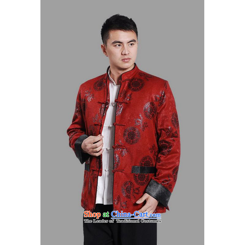 158 Jing men's jacket water Sable Hair Tang Add Tang dynasty lint-free men long-sleeved sweater Chinese Dragon Tang blouses聽XXXL red