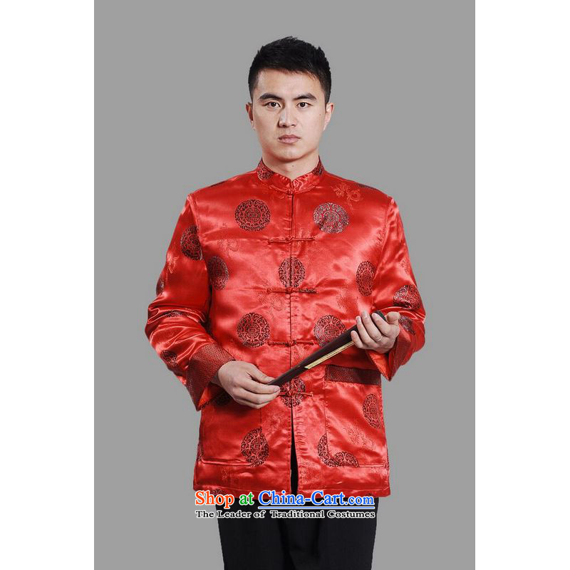 158 Jing Men's Jackets thick cotton plus add-Tang Tang replacing men long-sleeved sweater Chinese Dragon Tang blouses�-A large red燤