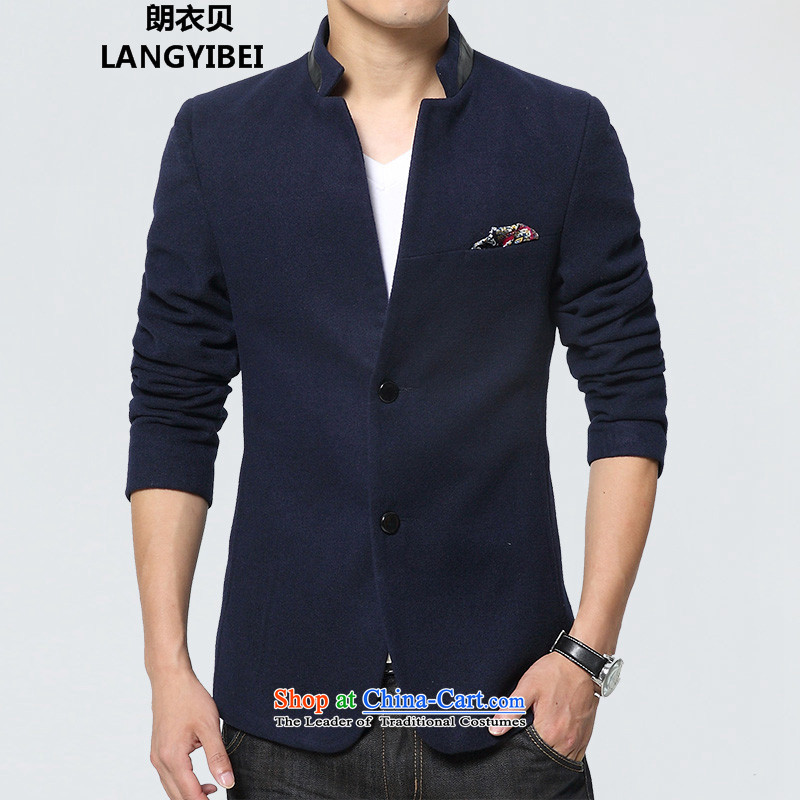 Yuen Long Yi Addis Ababa 2015 autumn and winter Chinese tunic suit the new Small Business suit male Sau San Korean male Chinese tunic jacket blue casual聽XXXL