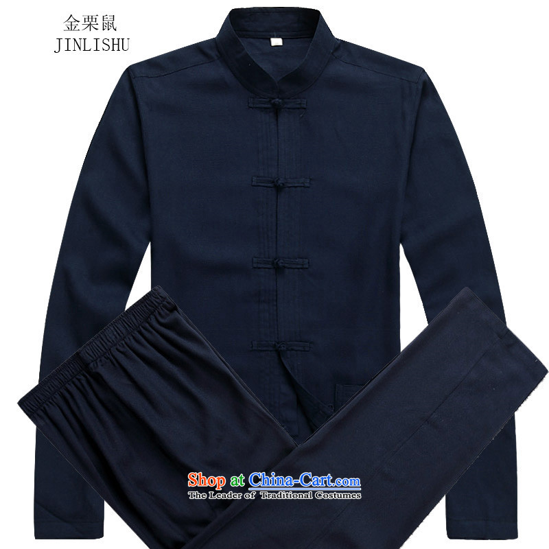Kanaguri mouse linen Tang dynasty men fall long-sleeved clothing middle-aged father Han older persons with Chinese men's Tang tray clip collar Tang Dynasty Package dark blue燲XXL Kit
