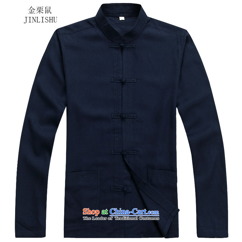 Kanaguri mouse linen Tang dynasty men fall long-sleeved clothing middle-aged father Han older persons with Chinese men's Tang tray clip collar Tang Dynasty Package dark blue packaged聽XXXL, kanaguri mouse (JINLISHU) , , , shopping on the Internet