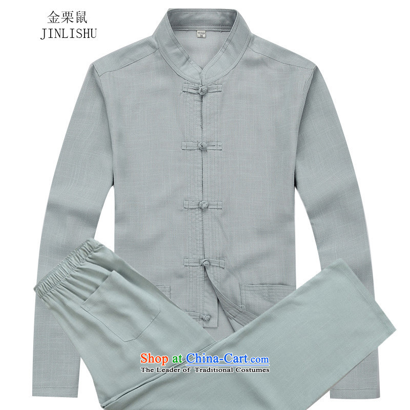 Kanaguri mouse autumn in New Tang elderly men set long-sleeved gray suit XL