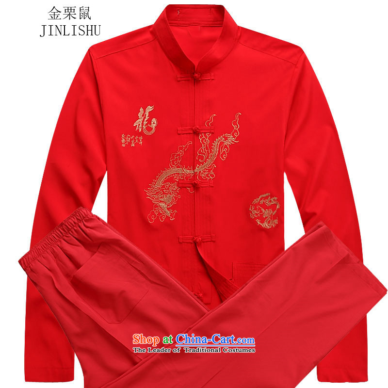 Kanaguri Mouse Tang Dynasty Men long-sleeved sweater collar Tang Dynasty Package kung fu tai chi service kit shirt red kit聽XL