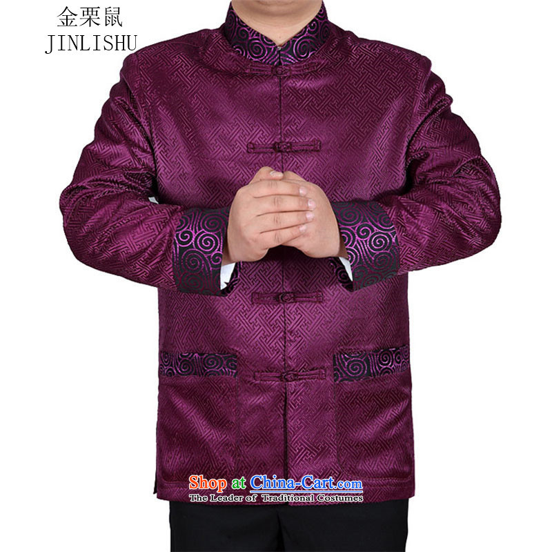 Kanaguri mouse of older persons in the Tang Dynasty Men long-sleeved kit with purple�XXL Dad