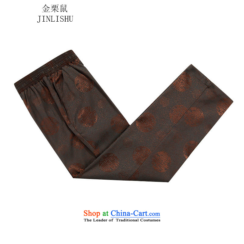 Kanaguri Mouse Tang dynasty new male packaged long-sleeved autumn men Tang dynasty brown trousers燲XXL