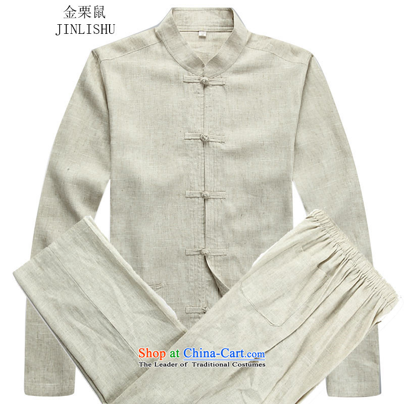 Kanaguri mouse in older long-sleeved men Tang Dynasty Package autumn new linen long-sleeved Tang dynasty and beige kit聽M