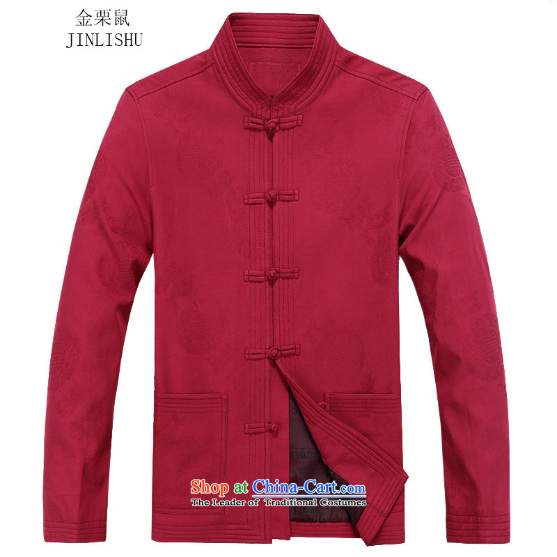 Kanaguri Mouse New Men Tang long-sleeved jacket kit collar China wind jacket in autumn Tang older red T-shirt?70