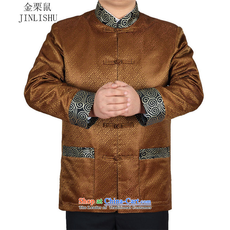 Kanaguri Mouse Tang dynasty Long-sleeve Autumn New Men Tang jackets, GOLD聽XXXL Jacket