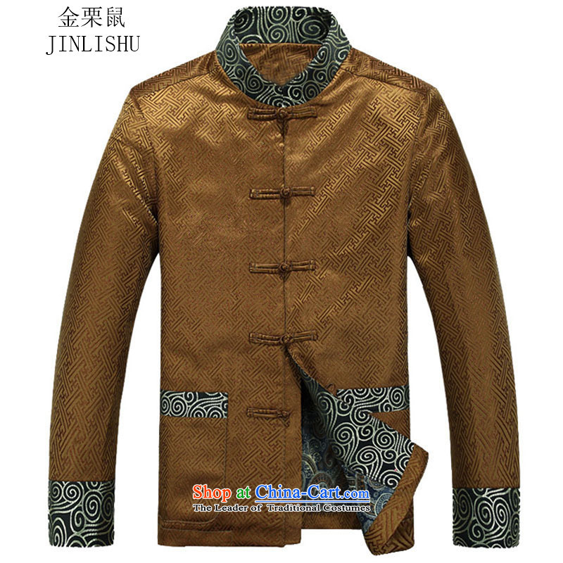 Kanaguri Mouse Tang dynasty Long-sleeve Autumn New Men Tang jackets, GOLD聽XXXL, jacket kanaguri mouse (JINLISHU) , , , shopping on the Internet