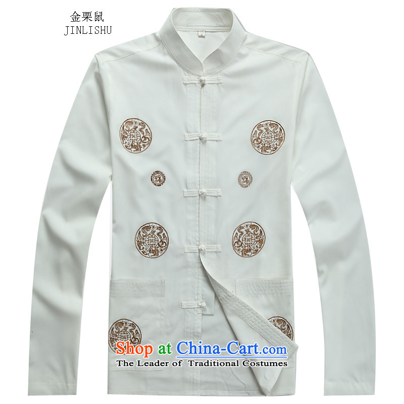 Kanaguri mouse autumn new Tang dynasty China wind and long-sleeved Tang Dynasty Package men t-shirt Chinese men white shirt?XL