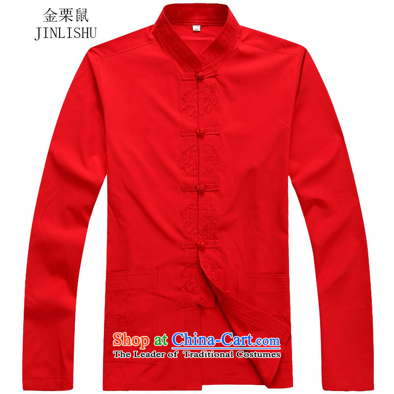 Kanaguri mouse autumn聽2015 men's long-sleeved shirt, long-sleeved Tang new replacing Men's Mock-Neck Tang dynasty聽S red T-Shirt