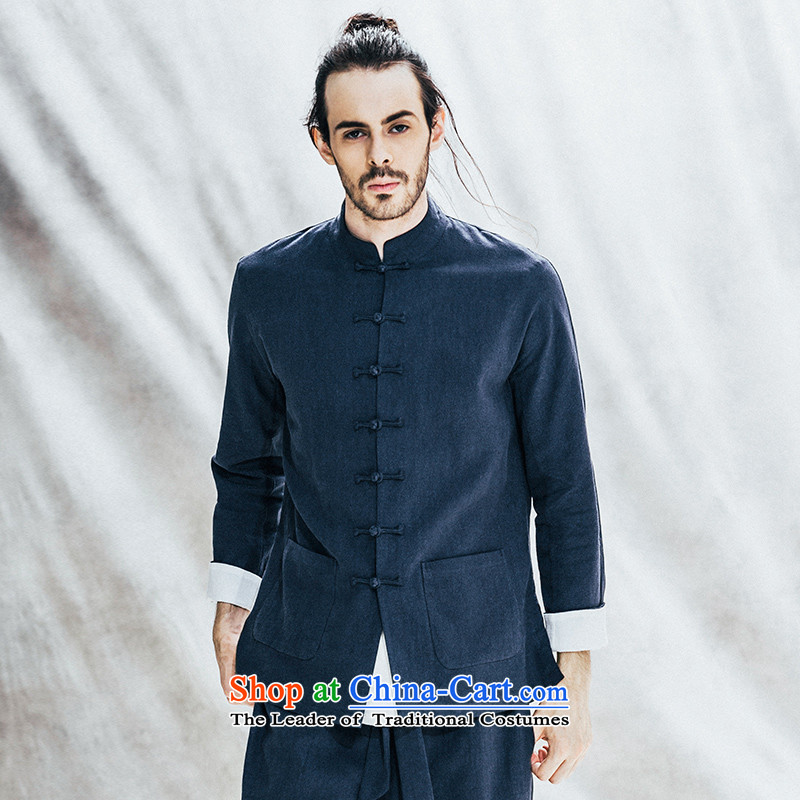 Seventy-Tang Original China wind national costumes linen men long-sleeved jacket fall short of nostalgia for the tray clip cotton linen clothes men improved load blue燲L�days of pre-sale
