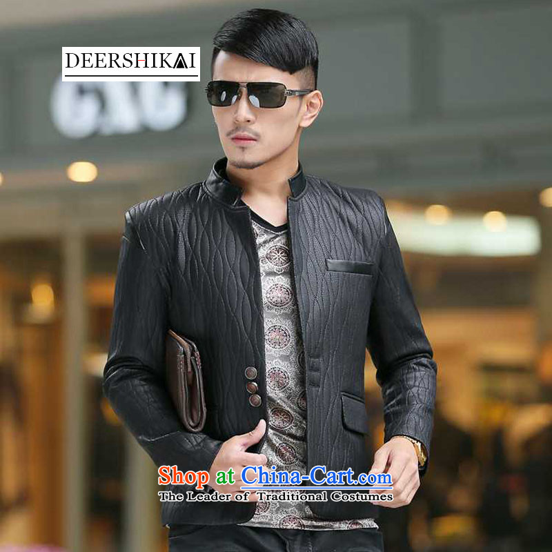 The achievement of the Perth Kai 2015 autumn and winter New Men's Mock-Neck PU Chinese tunic suit men casual leather suit Chinese tunic聽317ZS01 XXL