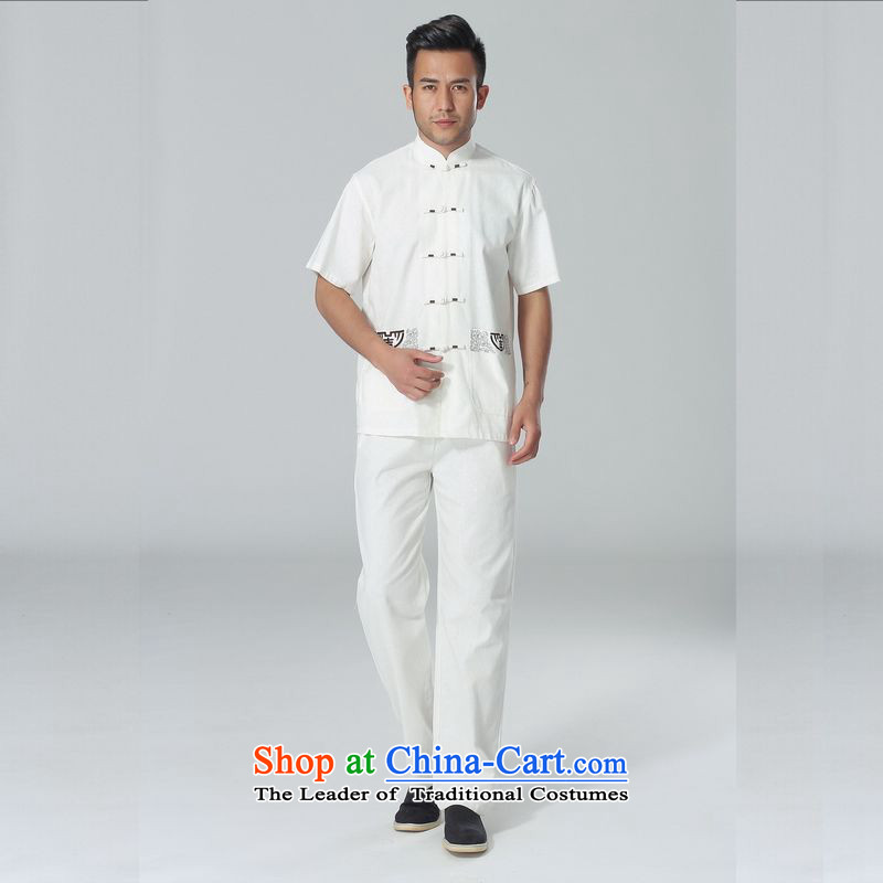 158 Jing in Tang Dynasty older men and summer cotton linen collar Chinese Tai Chi Man serving short-sleeve kit for larger men's kung fu kit white聽L