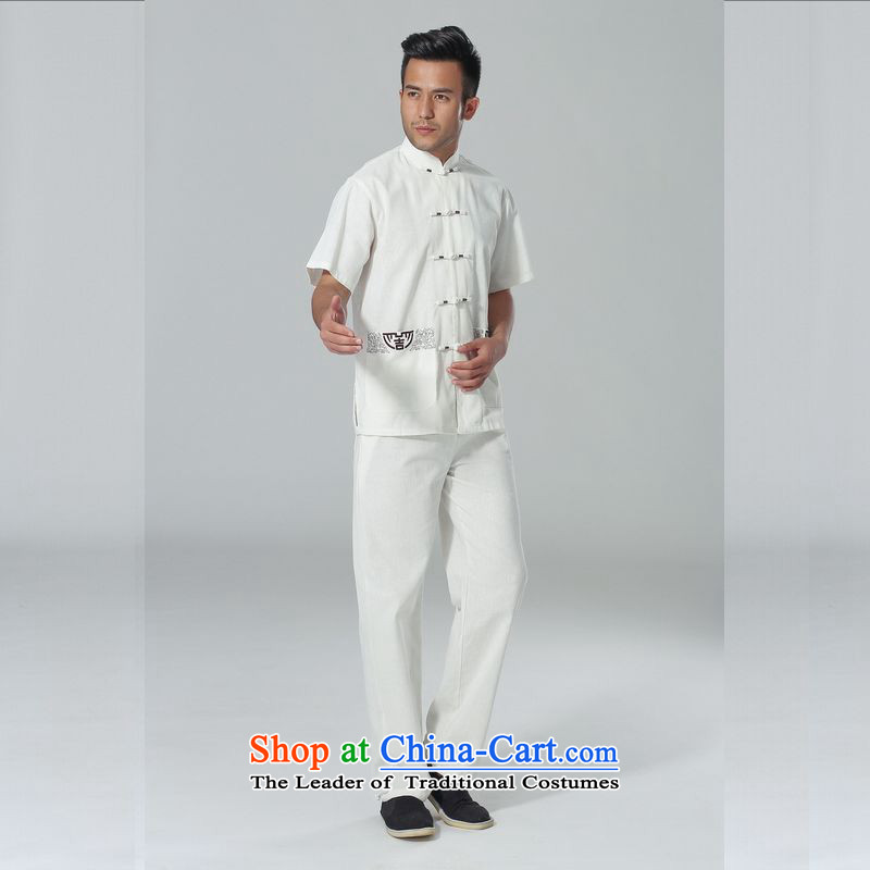 158 Jing in Tang Dynasty older men and summer cotton linen collar Chinese Tai Chi Man serving short-sleeve kit for larger men's kung fu Kit聽, L 158 Jing , , , white shopping on the Internet