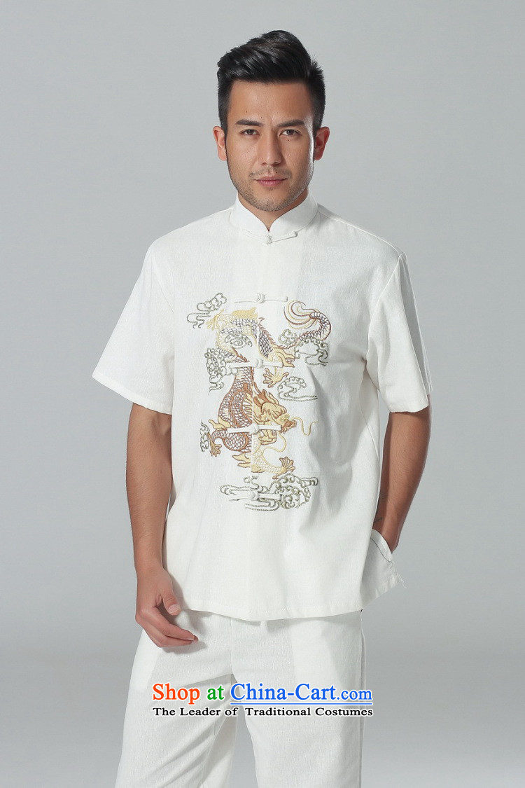 158 Jing in Tang Dynasty older men and summer cotton linen collar Chinese Tai Chi Man serving short-sleeve kit for larger men's kung fu Kit White聽M picture, prices, brand platters! The elections are supplied in the national character of distribution, so action, buy now enjoy more preferential! As soon as possible.