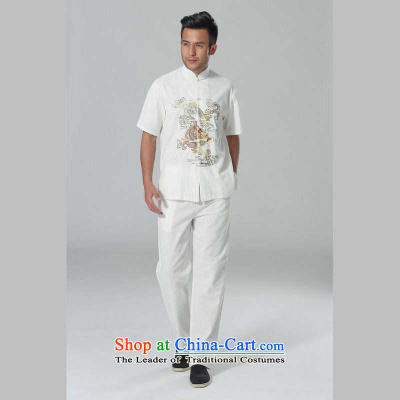 158 Jing in Tang Dynasty older men and summer cotton linen collar Chinese Tai Chi Man serving short-sleeve kit for larger men's kung fu Kit White聽M