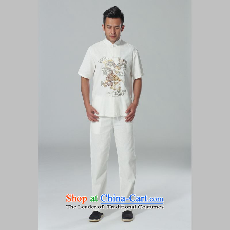 158 Jing in Tang Dynasty older men and summer cotton linen collar Chinese Tai Chi Man serving short-sleeve kit for larger men's kung fu Kit White聽M 158 jing shopping on the Internet has been pressed.